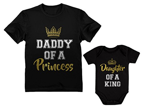 Father & Daughter Matching Set Gift for Dad & Baby Girl Bodysuit & Men's Shirt Man Black XX-Large/Baby Black 24M (18-24M)]()