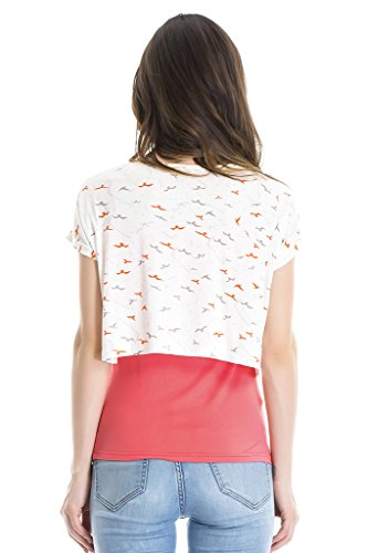 bearsland - Camiseta de manga larga - para mujer Rojo rosso Large