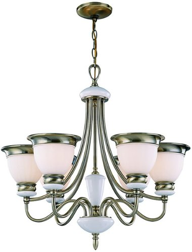 Lite Source LS-18426AB/FRO Carter 6-Lite Ceiling Lamp, Antique Brass with Frosted Glass Shade