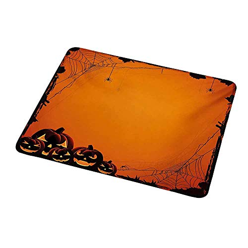 Gaming Mouse Pad Halloween,Grunge Spider Web Jack o Lanterns Horror Time of Year Trick or Treat Print,Orange Seal Brown,Custom Non-Slip Mouse Mat 9.8