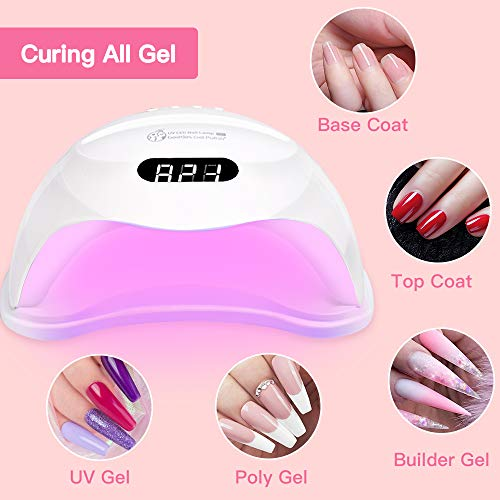 U V LED Nail Lamp, Beetles Gel Polish Anti Aging U V Nail Light Curing Nail Polish Gel Set/Base Gel/Top Coat/Poly Nail Gel Extension for Professional Nail Art Design Salon DIY at house