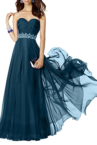 Traegerlos Linie mia Jugendweihe A La Navy Brautjungfernkleider Chiffon Fesltichkleider Lang Brau Blau Kleider Anmutig Abendkleider q7wIHwR