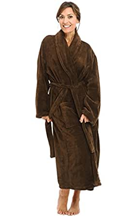 Del Rossa Womens Classic Fleece Shawl Collar Bathrobe Robe, 3XL 4XL Chocolate Brown (A0114WCT4X)