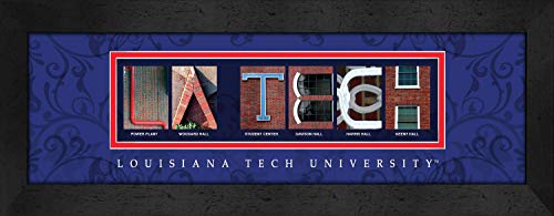 Prints Charming Letter Art Framed Print, Louisiana Tech University-La Tech, Bold Color Border