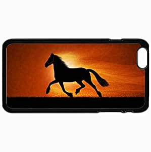 Customized Cellphone Case Back Cover For iPhone 6 Plus, Protective Hardshell Case Personalized Horse Vector Line Black
