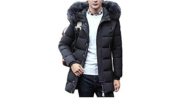 Hmarkt Mens Winter Quilted Padded Zipper Faux Fur Collar Casual Thicken Outwear Hooded Down Puffer Jacket