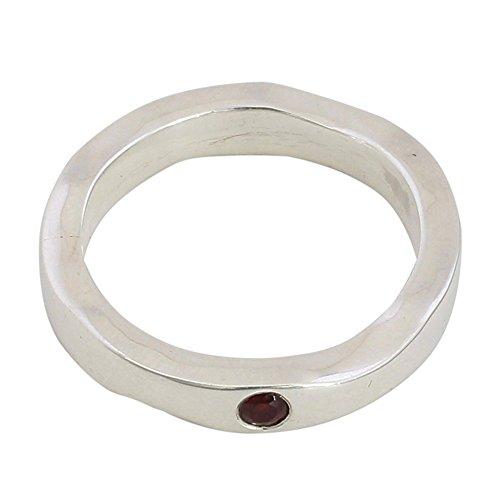 NOVICA Garnet Band Ring, Curvy Sophistication In Red