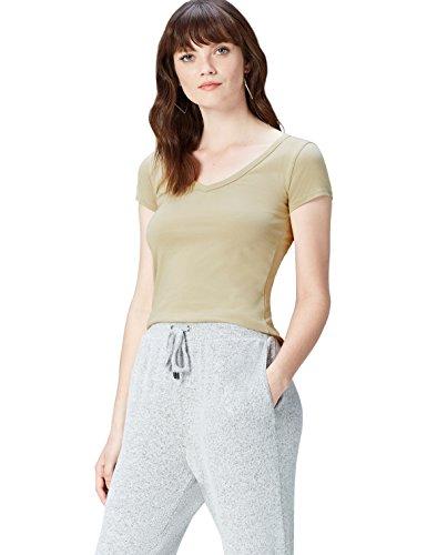 Donna con V Shirt Khaki Scollo T Beige a Activewear T4Yfwf