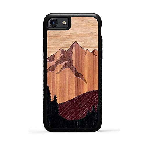 Carved iPhone 7 Mount Bierstadt Inlay Wood Traveler Case, Unique Real Wooden Phone Cover (Rubber Bumper, Fits Apple iPhone 7)