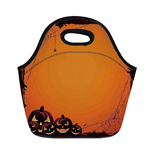 Halloween Decorations Durable Lunch Bag,Grunge Spider Web Pumpkins Horror Time of Year Trick or Treat for School Office,11.0