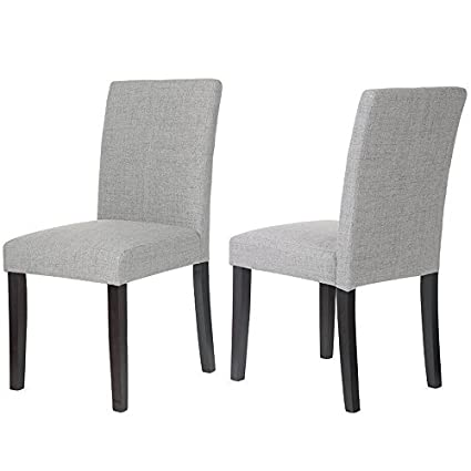 Amazon Com Merax Classic Fabric Dining Chairs With Solid Wood Legs