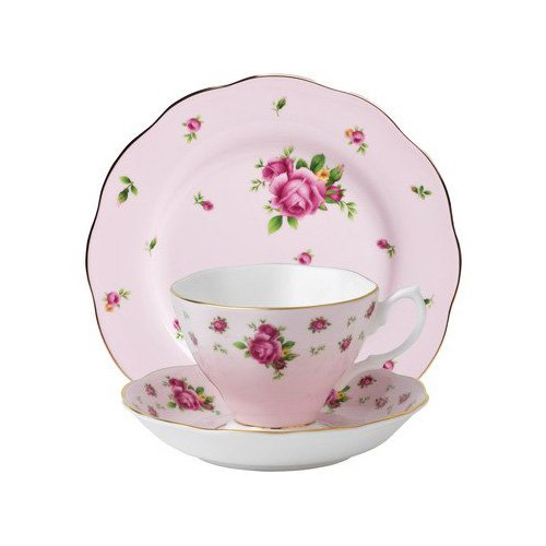 Royal Albert 3-Piece New Country Roses Teacup, Saucer and Plate Set, Pink ()