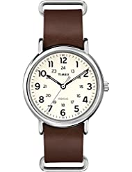 Timex T2P495AW Weekender White Dial and Brown Leather Nato Strap