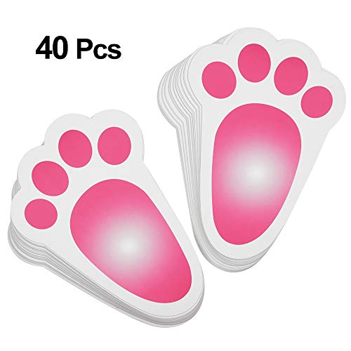 (KUUQA Easter Bunny Footprint Rabbit Feet for Kids Easter Party Game Egg Hunt Game 18 x 12cm (40 Pieces))