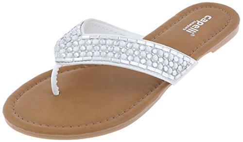 Capelli New York Ladies Flip Flops with Gem, Pearl and Rhinestone Trim White - Gems York New