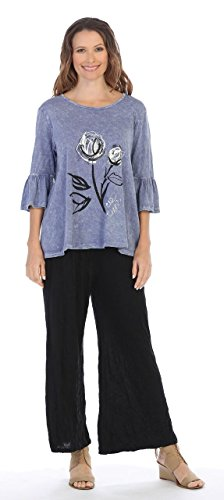 - Jess & Jane Women's Duet Mineral Washed Cotton Bell Sleeve Tunic Top (Medium, Vintage Blue)