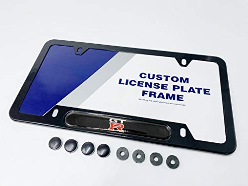 - NISSAN GTR SKYLINE GODZILLA NISMO Logo Emblem PREMIUM TWO-STAGE FINISH HYPER GLOSS BLACK License Plate Frame Kit Tag Holder with Hiding Caps Covers & Round Spacers for Bolts Screws