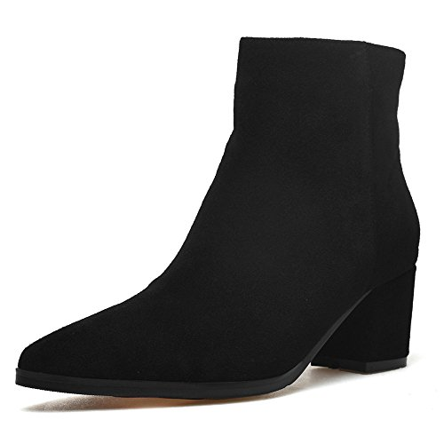 Boots Suede Heel Handmade Ankle Seven Nine Pointed Comfort Toe Black Leather Women's Block 4Pzf5q