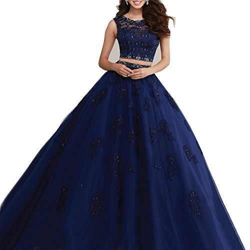 Beauty Bridal Long Lace Ball Gown Two Piece Quinceanera Dresses Prom Gowns (4,Navy Blue)