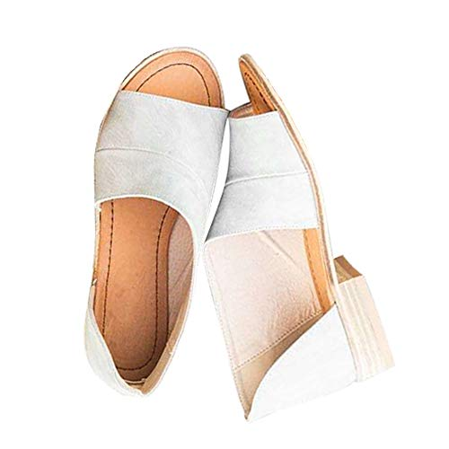 SNIDEL Womens Faux Leather Sandal Open Toe Flats Sip on Summer Casual Low Heels Shoes Grey 6 B (M) US - Low Heel Womens Casual Shoes