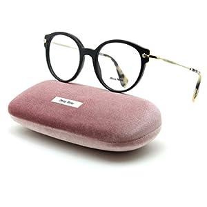 Miu Miu 04PV Women Round Prescription RX Eyeglasses Black 1AB/1O1