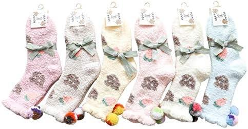 ZhujiaN Socken Erdbeere In Den Schlauchsocken Weibliche Socken Herbst Und Winter Korallen Samt Japanischen Comic-Fußbodensocken Zu Hause Schlafen -6 Paar Socken (Farbe : Elegant Blue)