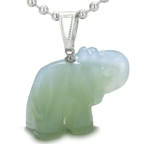 Amulet Lucky Charm Elephant Totem Green Serpentine Good Luck Powers Pendant 22 Inch Necklace (Necklace Stone Serpentine)