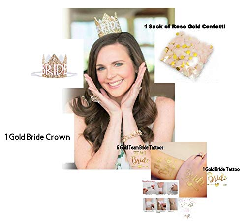 Bride to Be Mini Kit: Elastic Glitter Crown, Confetti, and Tattoos for Bridal Shower or Bachelorette Party by PLS Trading