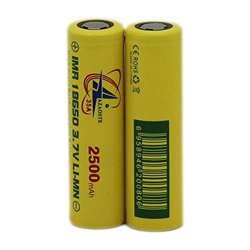 AZAOSTE 2 Pack 2500mAh 3.7v Rechargeable 18650 Battery Li-ion Battery For High Power Flashlights