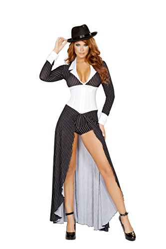 2 Piece Gangster Mob Wife Pinstripe Long Coat & Shorts Party Costume -