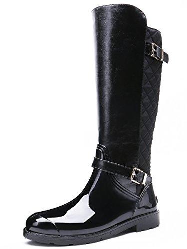 Tongpu Womens Warm Waterproof Mid-calf Boots Snow Booties Zwart