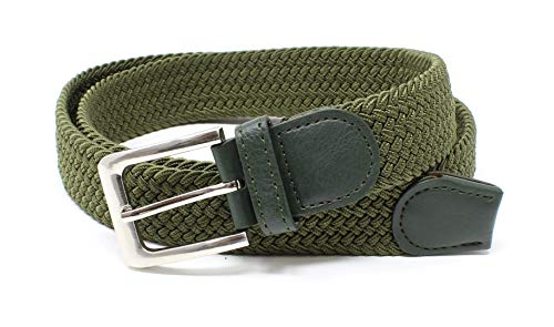 (Mens Braided Elastic Stretch Belt Leather Tipped End and Silver Metal Buckle (Olive-S))