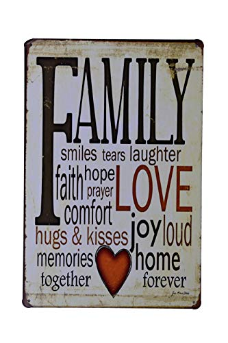 H&K Family Love Joy Home Retro Metal Tin Sign Posters Wall Decor 12X8-Inch