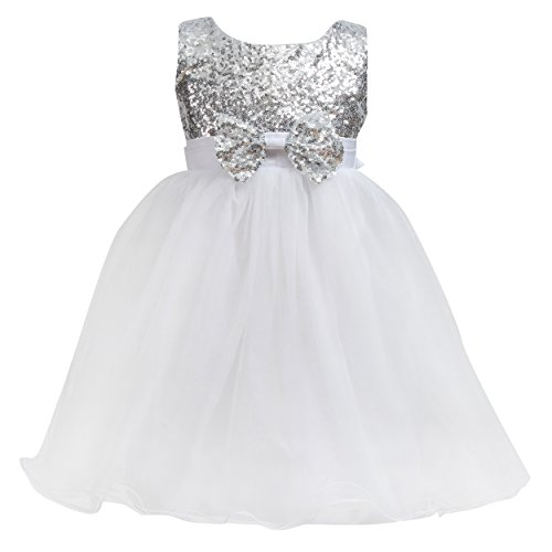 Merry Day Flower Baby Girl Sequin Dress - Kids Princess Pageant Party Wedding Dresses Silver 3-4 Years]()