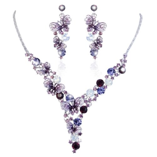 Butterfly Cluster - EVER FAITH Elegant Butterfly Silver-Tone Purple Austrian Crystal Necklace Earrings Set