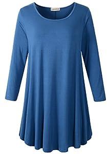 LARACE Women 3/4 Sleeve Tunic Top Loose Fit Flare T-Shirt Steel Blue