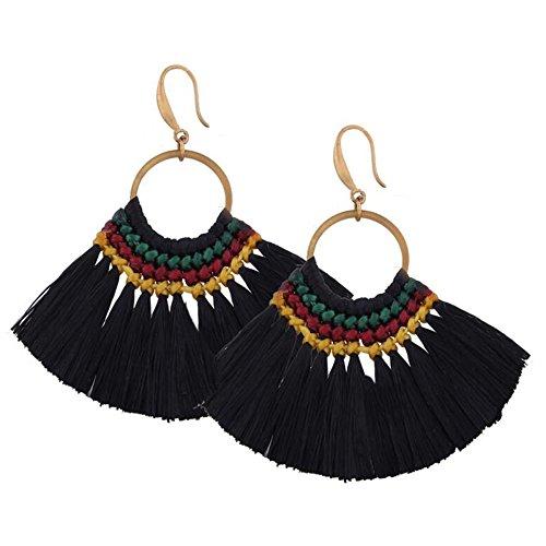 Boucles d'oreilles en maille de soie Vintage Bohème pour femme Boucles d'oreilles en forme de fan Fringe personnalisé Black