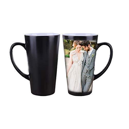 ZTZ Magic Custom Photo Color Changing Coffee Mug Cup, Personalized DIY Print Hot Heat Sensitive Cup Ceramic Custom Mug, Keepsake Birthday Christmas Gift -Add YOUR PHOTO&TEXT (500ML, Black) ()