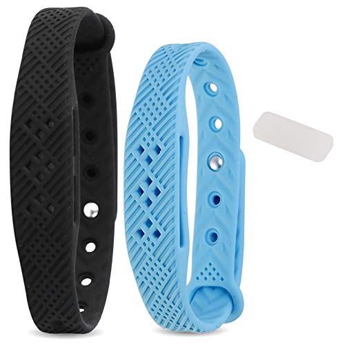 Mosquito Repellent Bracelet Reusable Soft Waterproof Silicone Band, 100% Nature Plant Essential Oils with 8 Extra Refills, Long Effects 120 Days, for Man/Women, Kid/Adult