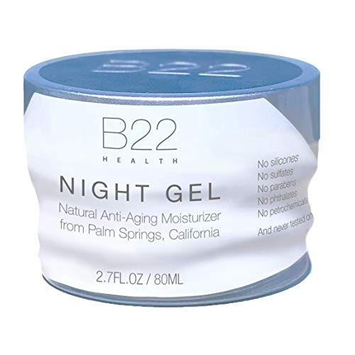 B22 Night Gel, Natural Oil-Free Firming Face Moisturizer with Niacinamide & Hyaluronic Acid (Anti-Wrinkle Formula) - 2.7oz - Eco Glass Jar Prevents Plastic Contamination in Skin - Made in California