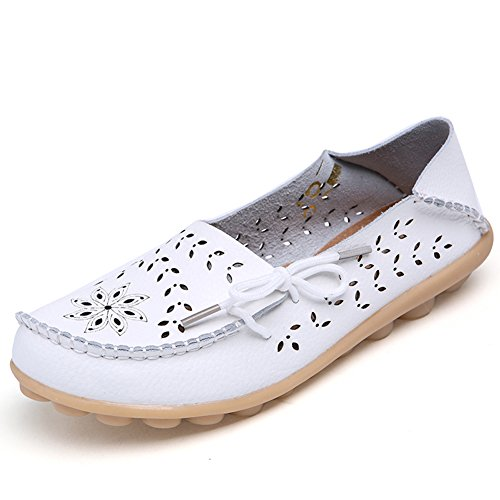 Fashion brand best show Women's Leather Loafers Flats Casual Round Toe Moccasins Wild Breathable Driving Shoes White