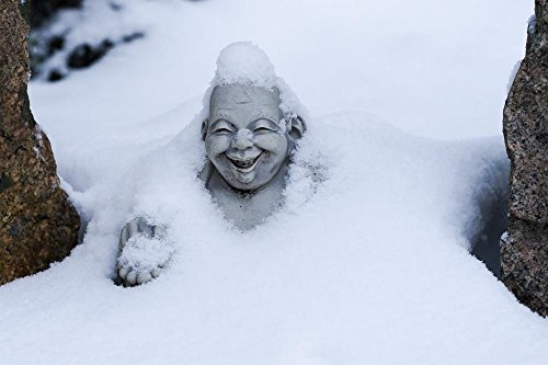 - Happy Buddha in Snow, Maine 14x11 Matted Photograph.