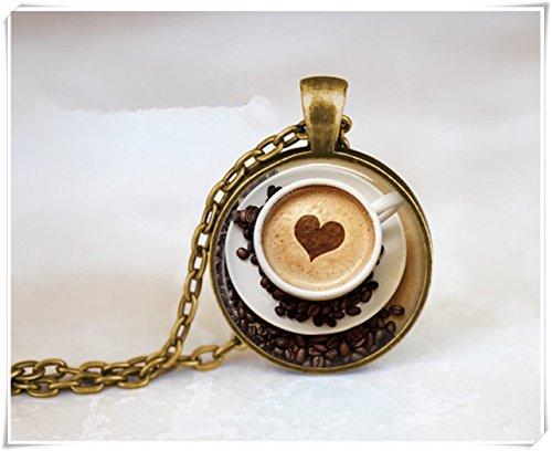 Cappuccino Heart Coffee Necklace