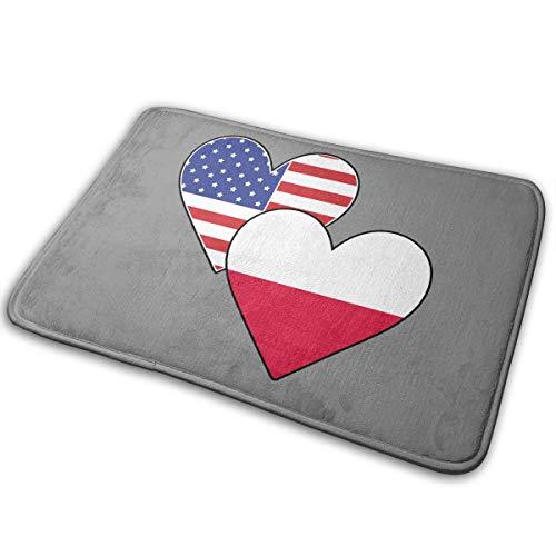 (LNUO-2 Indoor Outdoor Welcome Doormat Poland American Heart Flags Rug Floor Mats for Pets, Shoe Rugs)