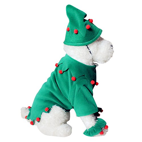 Cideros Pet Clothes Dog Cat Costume Coat Winter Christmas Suit with Cap Hat Apparel Clothing Green - Size L
