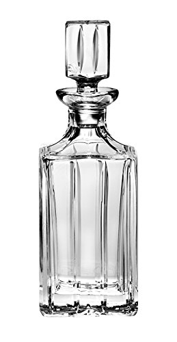 Barski - Hand Cut - Mouth Blown - Crystal - Whiskey - Square Decanter - 30 oz. - Made in - Mouth Wine Decanter Blown