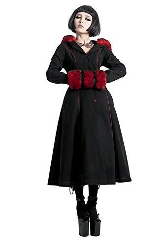 Gothic Lolita Style Woolen Fur Coat Steampunk Autumn Winter Fashion Long Sleeve Hooded Long Jackets (L, Black) by Punk (Image #1)