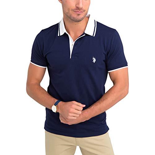 U.S. Polo Assn. Men's Slim Fit Solid Stretch Pique Polo Shirt Classic Navy ()