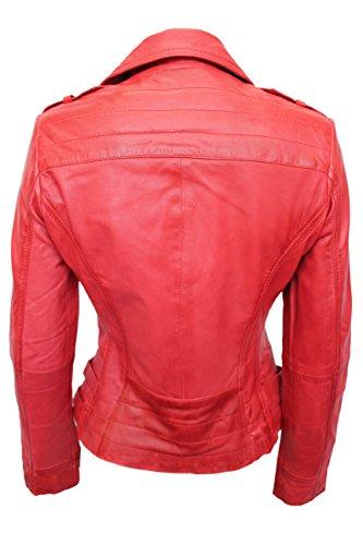 Rose' 5816 Damen ROT Entwerfer Motorradfahrer Stil Rock Lederjacke