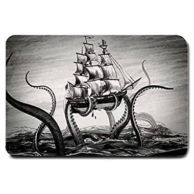 Dearhouse Vintage Kraken Octopus Ship Funny Humorous Rectangle Entryways Non Slip Doormat Floor Mat Indoor Outdoor Front Door Bathroom Mats Bedroom Doormat 23.6 x15.7